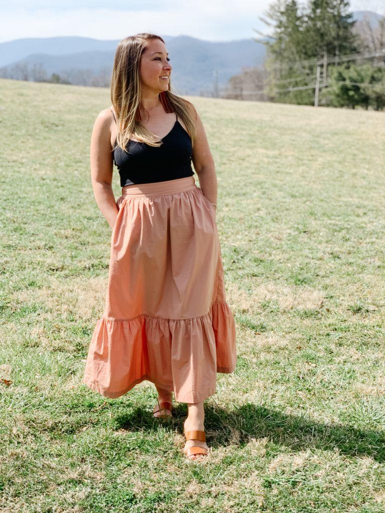 Target Midi Skirt with Black Bodysuit